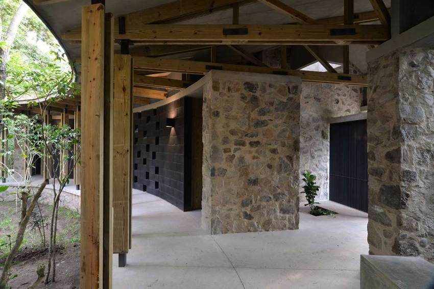 Wood and stone structure of the house in Jalisco