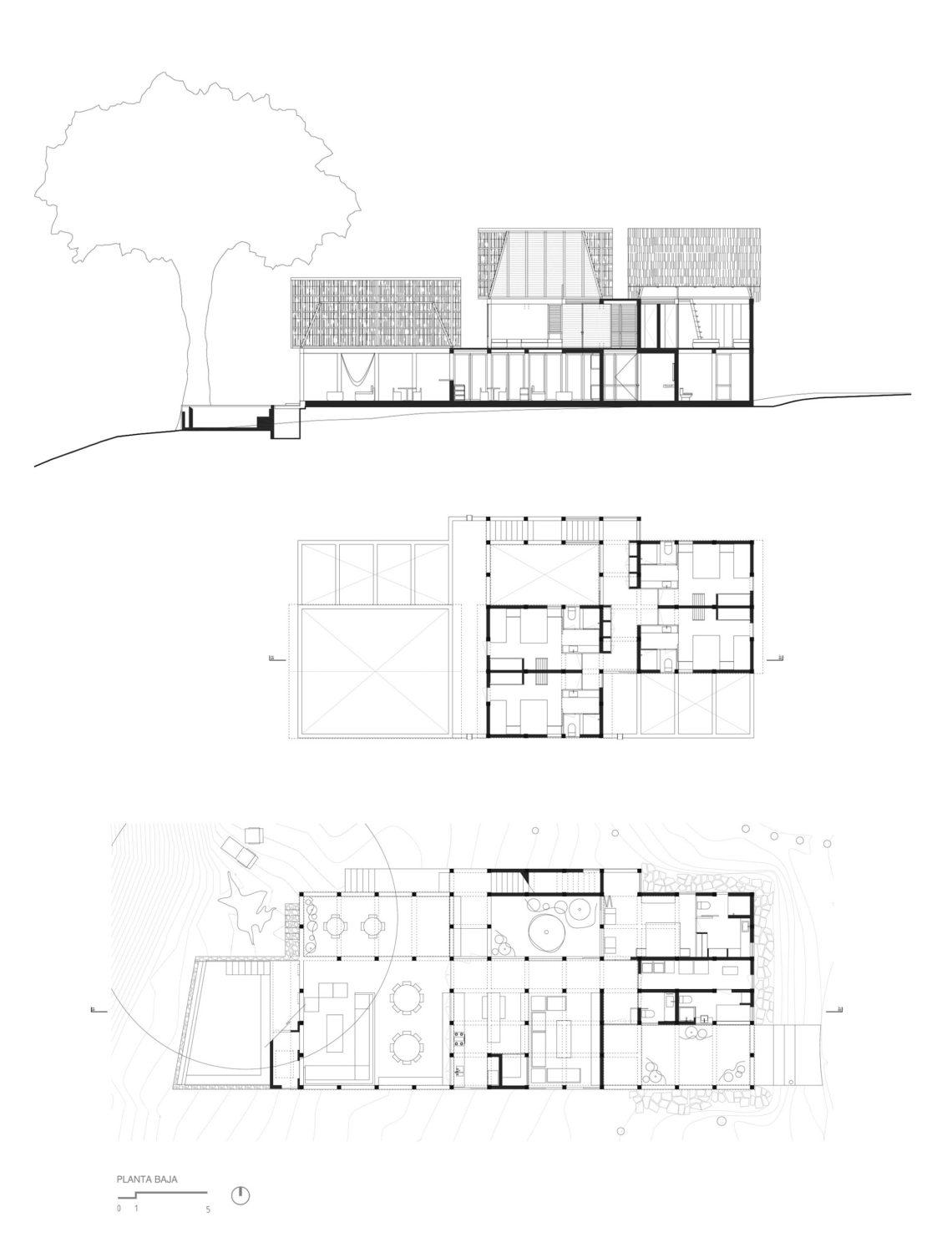 Floor Plans and Sections - Chacala House / CoA arquitectura & Estudio Macias Peredo