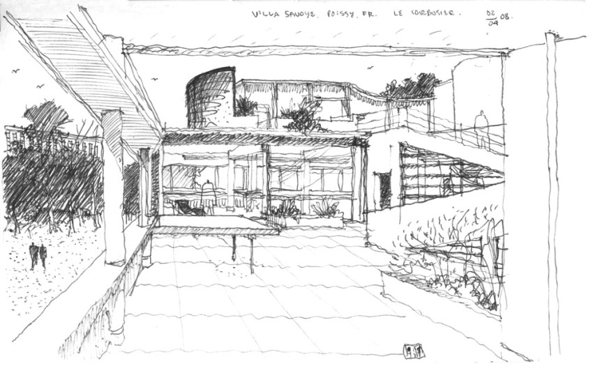 Sketch by Le Corbusier of Villa Savoye Terrace