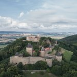 Aerial exterior View - Helfštýn Castle Palace Reconstruction / Atelier-r