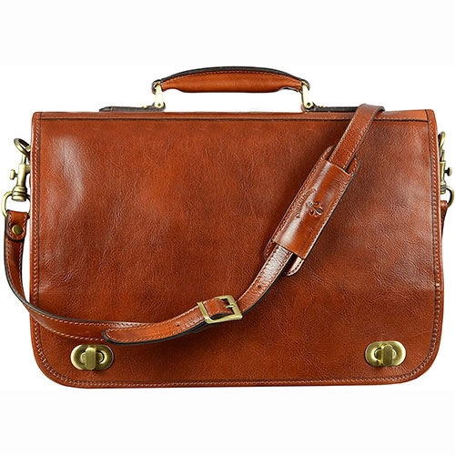Leather Briefcase for Men Italian Handcrafted Full Grain Messenger Bag for Laptop Orange - Time Resistance