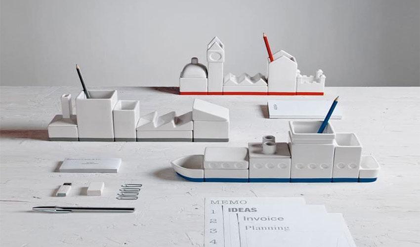 Desktructure The City 5 Piece Porcelain Desktop Organizer Set - Best Gifts For Architects & Designers