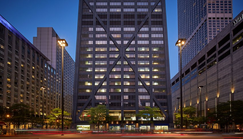 Entrance of the building - John Hancock Center at 875 North Michigan Avenue / Skidmore, Owings, and Merrill