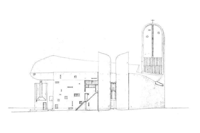 Le Corbusier Elevation Drawing of Ronchamp chapelle notre dame du haut