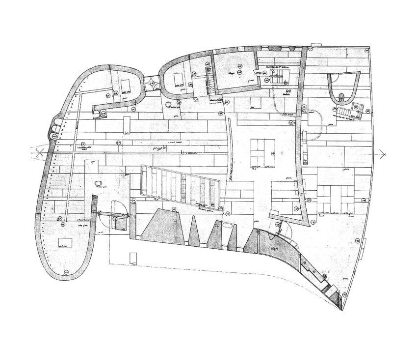 Le Corbusier Floor plan Drawing of Ronchamp chapelle notre dame du haut
