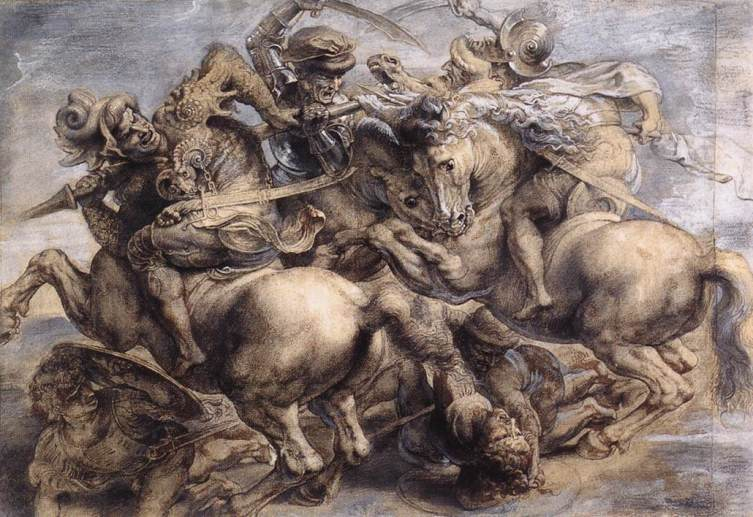 Leonardo's Battle of Anghiari, 1505, lost in c. 1560, as painted by Peter Paul Rubens in 1603