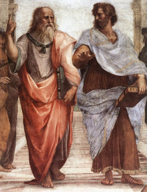 Detail: Leonardo da Vinci as Plato (left)