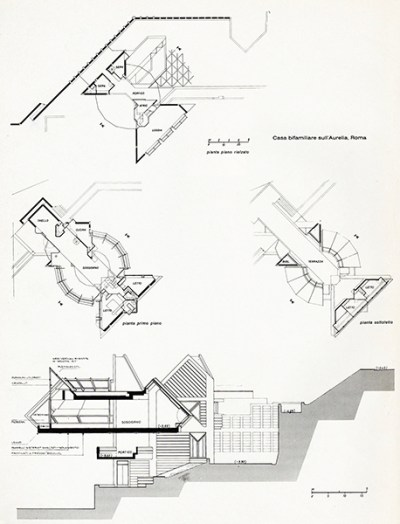 Plans and section -Bi-family house in via Aurelia, 1964
