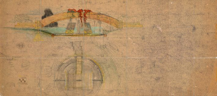 Drawing of tombs by Carlo Scarpa