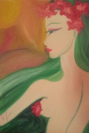 Anthea - Serie delle Ninfe - Valentina Giannicchi, olio su tela, 50x70 cm, Collezione Privata