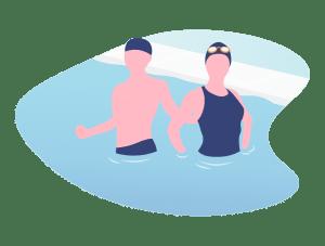 Illustration de deux adultes debout dans un bassin