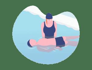 Illustration d'une maîtresse-nageuse tenant un élève dans un bassin