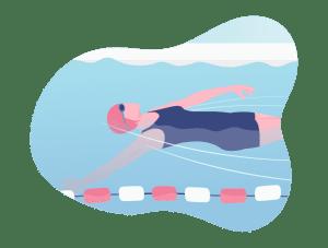 Illustration d'une femme nageant sur le dos