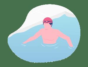 Illustration d'un homme marchant debout dans un bassin