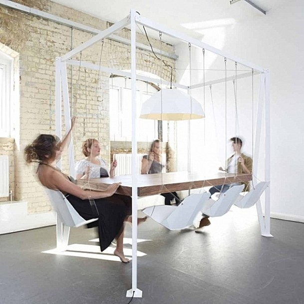 Hanging chair dining table