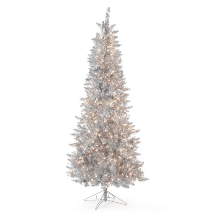 silver tinsel Christmas tree with white lights