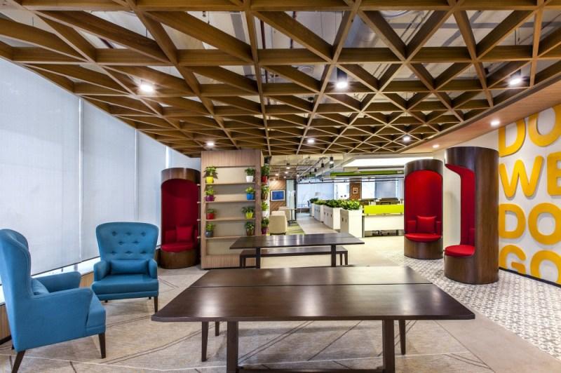 皮拉馬爾孟買辦公室內部的社區空間可以用作非正式會議和迷你會議,甚至可以用作開放圖書館。