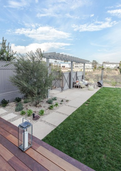 """24"""" square pavers lead to trellis-covered seating area"""