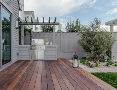 Ipe deck and barbecue area with trellis overhead