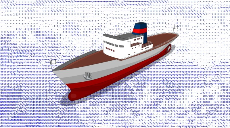 Barco navegando sobre mar en arte ASCII con caracteres