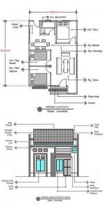 Denah dan Tampak Bangunan Rumah Minimalis Modern Type 90