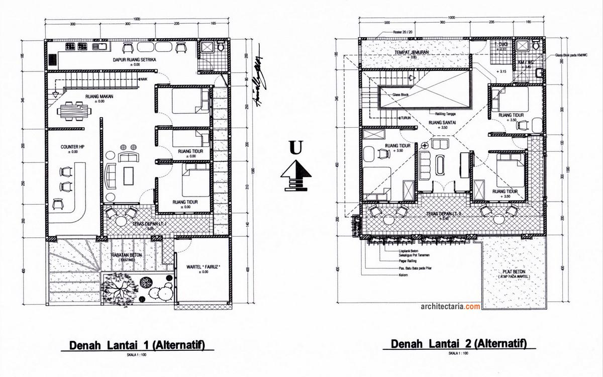 Ragam Desain Rumah Tinggal Sekaligus Rumah Kost Counter