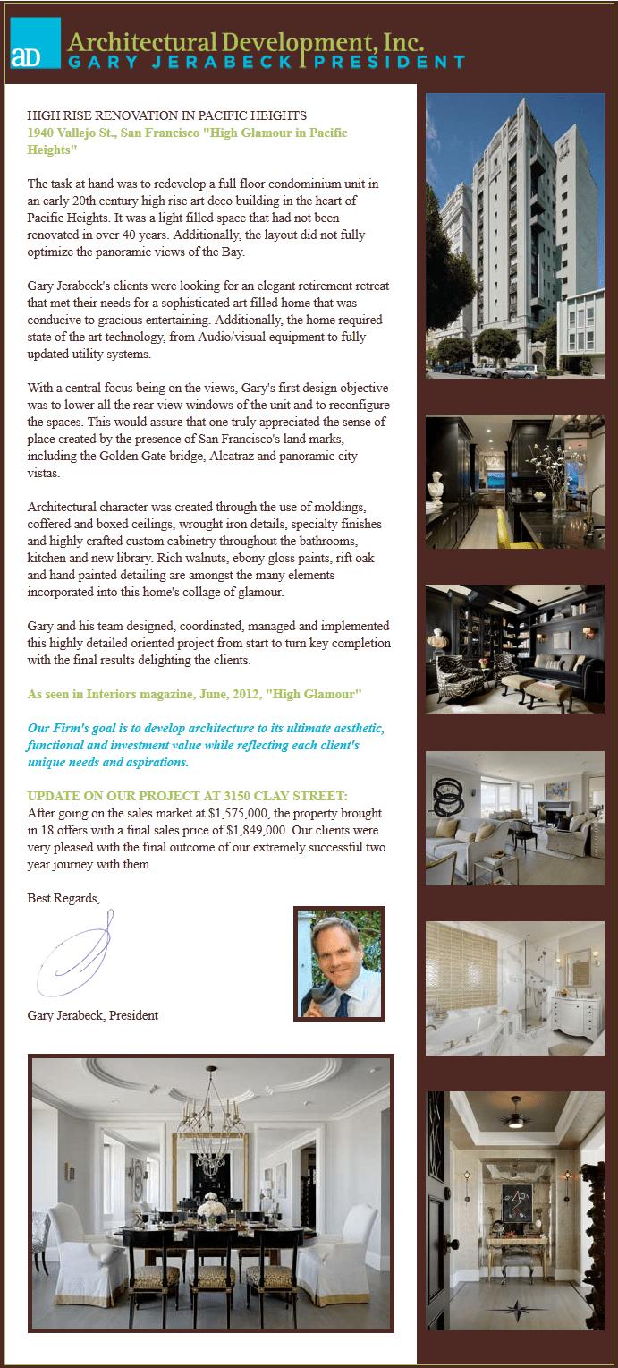 Architectural Development, Inc., Newsletter 3, June 2012