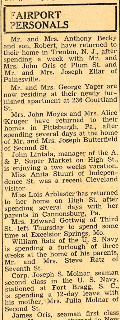 1940s painesville ohio newspaper