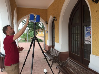 Project director Peter Christensen sets up an interior shot inside the Portico at Durak station.