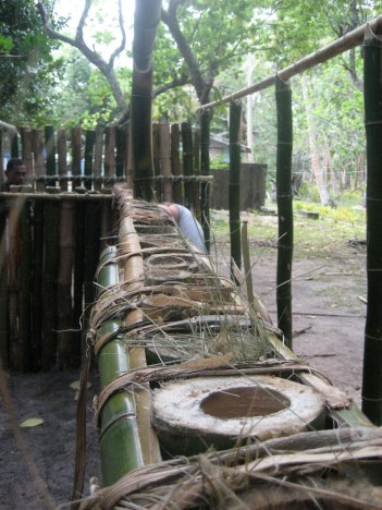 Recycling station in bamboo