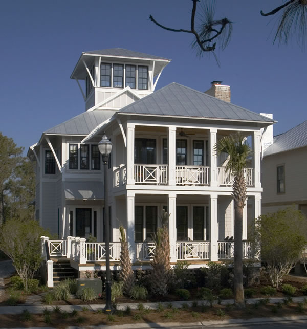 Coastal Beach House Plans 4 Bedrooms & 4 Covered Porches