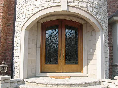Limestone front entryways