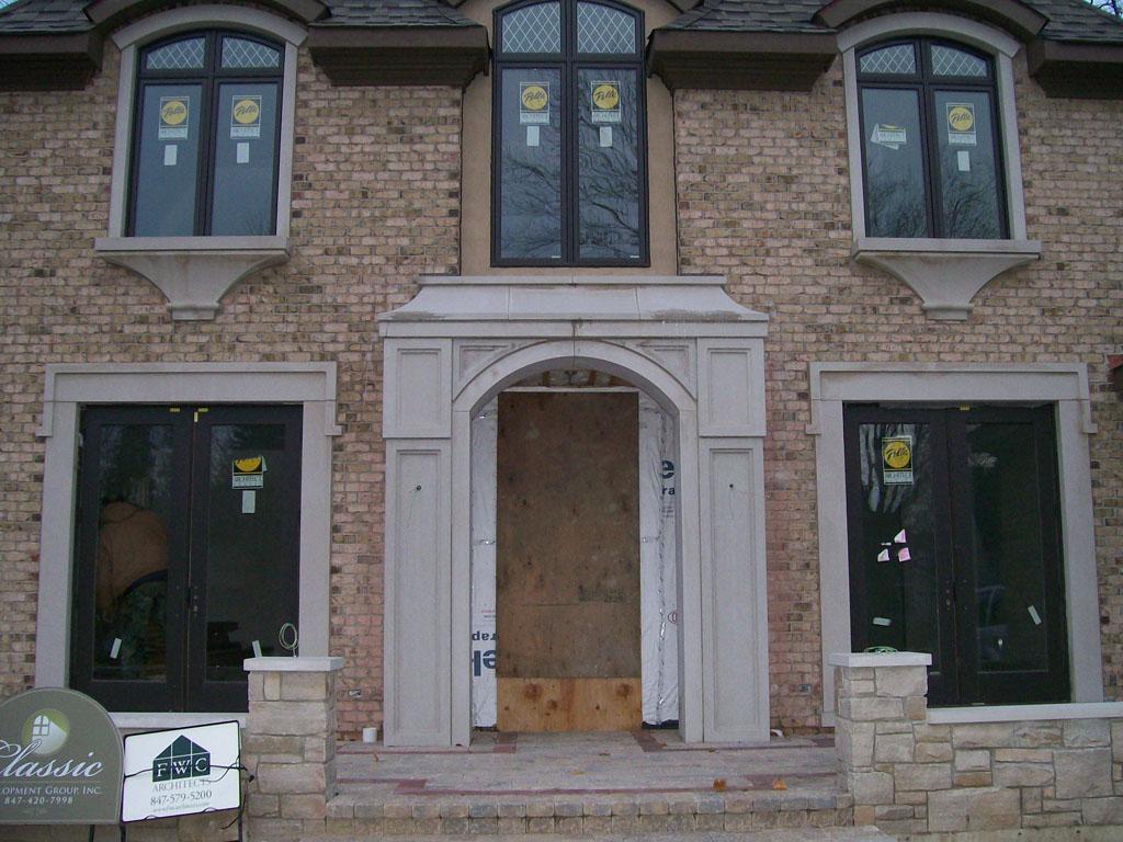 Limestone front entryways