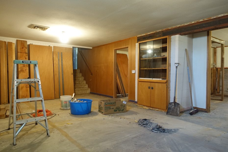 First the doors were removed - then trim and paneling.