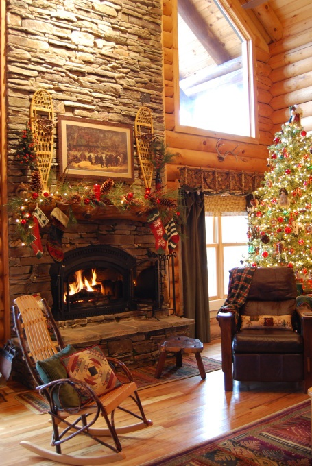 Diy Fireplace Makeover Ideas 33 Cute Log Cabin Christmas Decorations