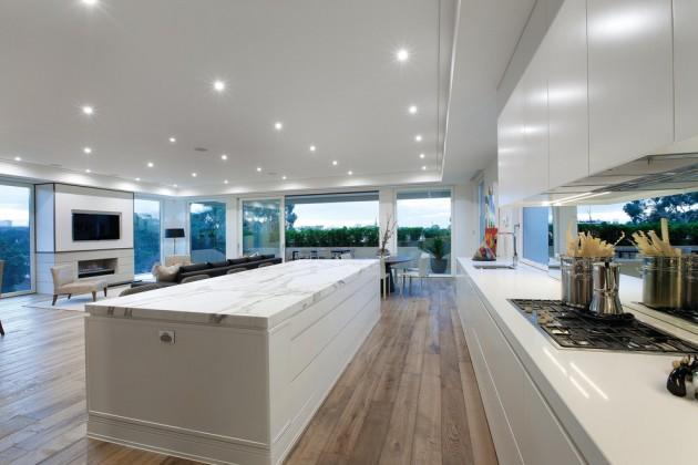 Modern White Kitchen With Grey Floor Novocom Top