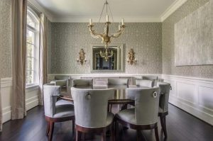 dining wainscoting gray modern designs table chairs round grey rooms velvet transitional walls trellis decorpad contemporary fabulous seats features clad