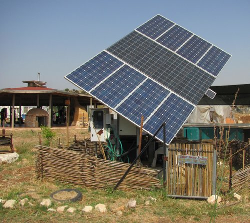 Solar collectors in an Israeli farm