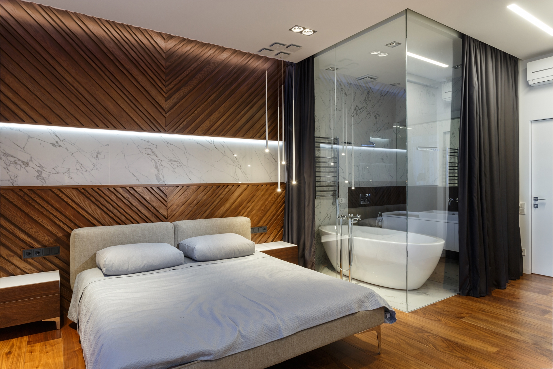 Glass Bathroom Walls In Modern Apartment By SVOYA  Architecture Beast