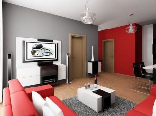Dynamic Colour Combinations Simple Living Room Red, Grey And White