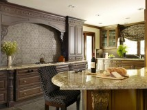 Mediterranean Kitchen Design With Mosaic Tiles Table