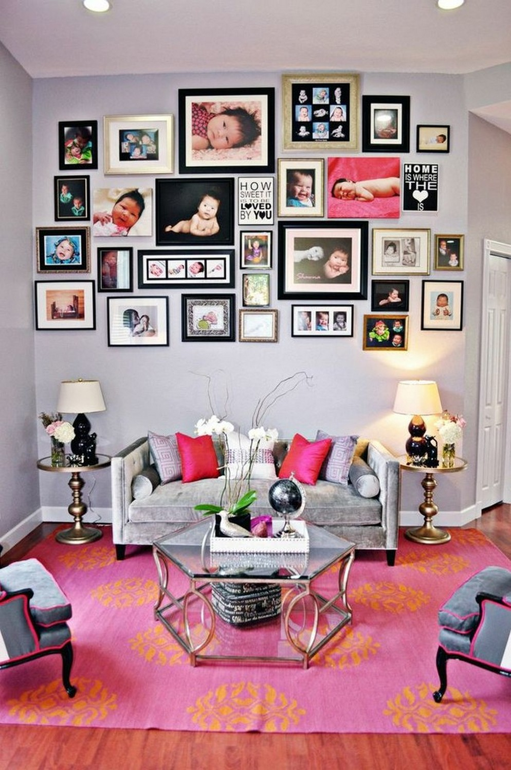 Picture frame wall collage ideas living room contemporary with pink drapes mirrored architecturein - Wall collage ideas living room ...
