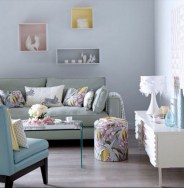 Stylish Living Room Light Blue Walls Living Room Design Ideas With Regard To Blue And Orange Living Room With Floral Pillow