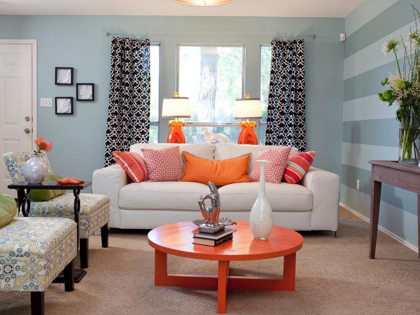 Stylish living room light blue walls living room design ideas with regard to blue and orange - Orange living room walls ...