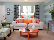 Stylish Living Room Light Blue Walls Living Room Design Ideas With Regard To Blue And Orange Living Room