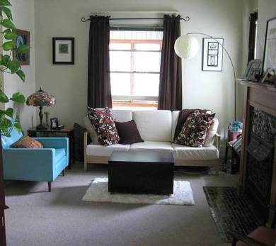 Small Living Room Design With Sofa And Blue Side Arm Chair