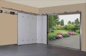 Acceptable Idea Of Sliding Garage Doors Made Of Aluminum Material In White Color