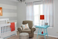 Beautiful Aquaorange Grey Design For A Baby Boy Nursery Room