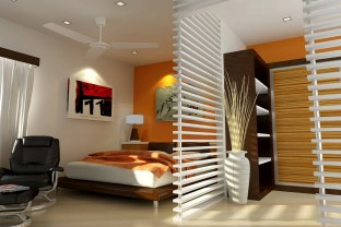 Bedroom Ideas With Half Wall And Shelves Unit With Tile Flooring Also Platform Bed And Ceiling Fan