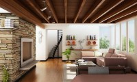 Fancy Natural Style Living Room With Large Windows